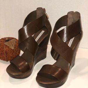 Diane Von Furstenberg Wooden Wedge Sandal